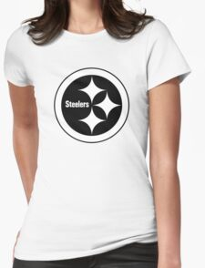 PITTSBURGH STEELERS BLACK AND WHITE Womens Fitted T-Shirt