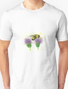 Bumble bee sitting a two thistles Unisex T-Shirt