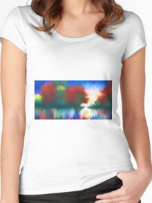 Rippled Sunset Women's Fitted Scoop T-Shirt