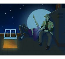 Stargazing on the roof Photographic Print