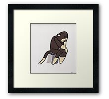 Sock Monkey Thinking Framed Print