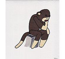 Sock Monkey Thinking Photographic Print
