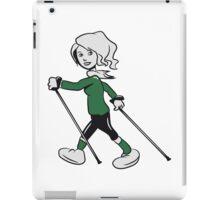 nordic walking woman fun sport iPad Case/Skin