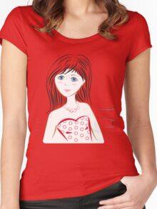 Cute Girl Blue eyes Women's Fitted Scoop T-Shirt