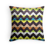 Chevron Pattern on Wood Texture Throw Pillow