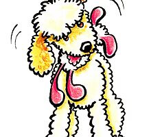 Cream Labradoodle Playtime by offleashart