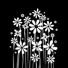 Black and White Flowers by silvianeto