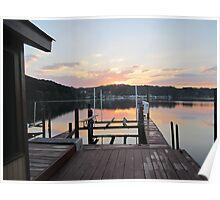 Sunset on the boat slip 2 by Respite Artwork Poster