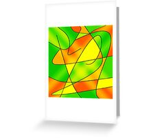 ABSTRACT CURVES-2 (Greens, Oranges & Yellows)-(9000 x 9000 px) Greeting Card