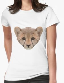 Low-Poly Baby Cheetah Womens Fitted T-Shirt