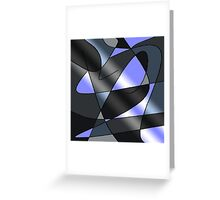 ABSTRACT CURVES-2 (Greys & Light Blue)-(9000 x 9000 px) Greeting Card