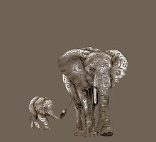 Swirly Elephant Family by _ VectorInk