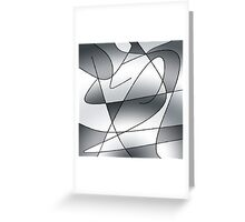 ABSTRACT CURVES-2 (Greys)-(9000 x 9000 px) Greeting Card