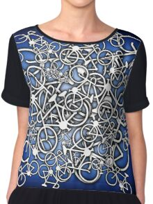 Tangled Up In Bicycles 2 - Blue Black fade Chiffon Top