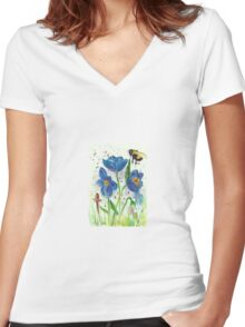 Bumble bee among blue poppies Women's Fitted V-Neck T-Shirt
