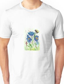 Bumble bee among blue poppies Unisex T-Shirt