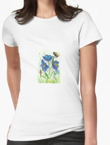 Bumble bee among blue poppies Womens Fitted T-Shirt