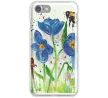 Bumble bee among blue poppies iPhone Case/Skin
