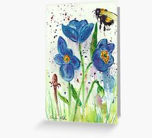 Bumble bee among blue poppies Greeting Card