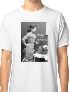 Retro Humor Woman Versus Typewriter  Classic T-Shirt