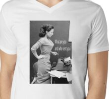 Retro Humor Woman Versus Typewriter  Mens V-Neck T-Shirt