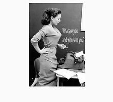 Retro Humor Woman Versus Typewriter  Mens V-Neck T-Shirt