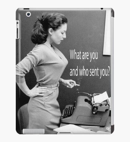 Retro Humor Woman Versus Typewriter  iPad Case/Skin
