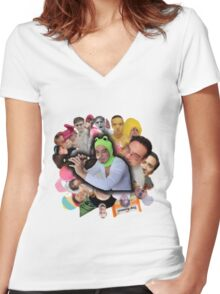 Papa Franku Women's Fitted V-Neck T-Shirt