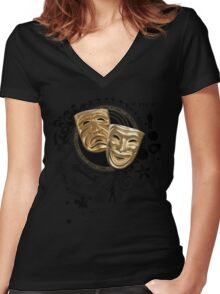 Gold Drama Masks Women's Fitted V-Neck T-Shirt