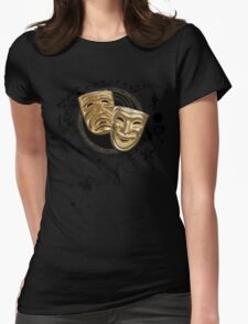 Gold Drama Masks Womens Fitted T-Shirt