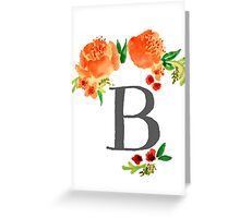 Floral Watercolor Monogram B Greeting Card