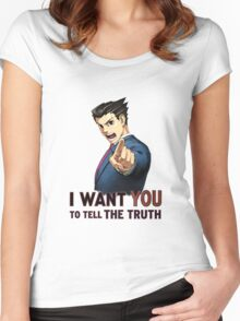 Phoenix Wright Wants YOU to Tell the Truth (transparent) Women's Fitted Scoop T-Shirt