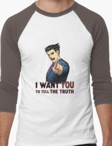 Phoenix Wright Wants YOU to Tell the Truth (transparent) Men's Baseball ¾ T-Shirt