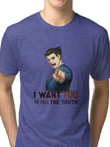 Phoenix Wright Wants YOU to Tell the Truth (transparent) Tri-blend T-Shirt