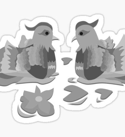Great Crested Grebe in Black & White Sticker