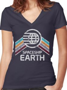 Vintage Spaceship Earth with Distressed Logo in Retro Style Women's Fitted V-Neck T-Shirt