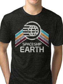 Vintage Spaceship Earth with Distressed Logo in Retro Style Tri-blend T-Shirt