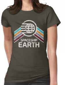 Vintage Spaceship Earth with Distressed Logo in Retro Style Womens Fitted T-Shirt
