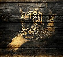 Vintage Tiger on Old Wooden by Nhan Ngo