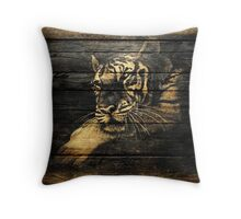 Vintage Tiger on Old Wooden Throw Pillow
