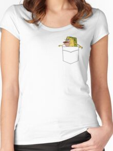 Caveman Spongebob in a pocket Women's Fitted Scoop T-Shirt
