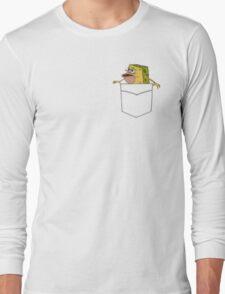 Caveman Spongebob in a pocket Long Sleeve T-Shirt