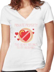 Heart Belongs To Husband Women's Fitted V-Neck T-Shirt