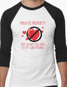 Heart Belongs To Girlfriend Men's Baseball ¾ T-Shirt