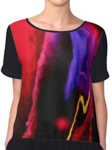 Bold color flow Graphic Contrast Chiffon Top