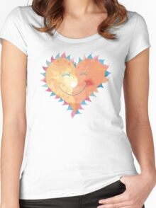 Love Heart Smiling Women's Fitted Scoop T-Shirt