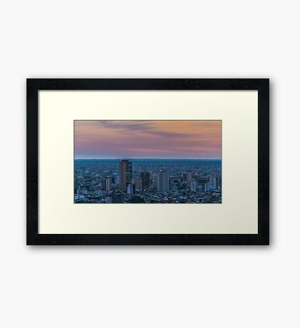 Guayaquil Aerial Cityscape View Sunset Scene Framed Print