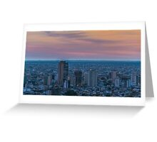 Guayaquil Aerial Cityscape View Sunset Scene Greeting Card