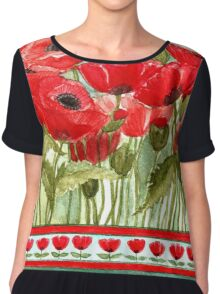 IN LOVE WITH BEAUTIFUL ROMANTIC RED POPPIES  Chiffon Top