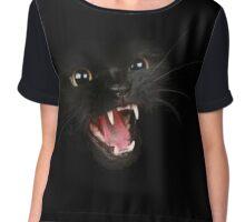 Black Scowling Cat Chiffon Top